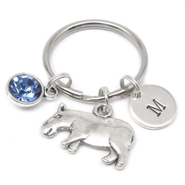 Hippo charm keyring gift personalised initial & birthstone
